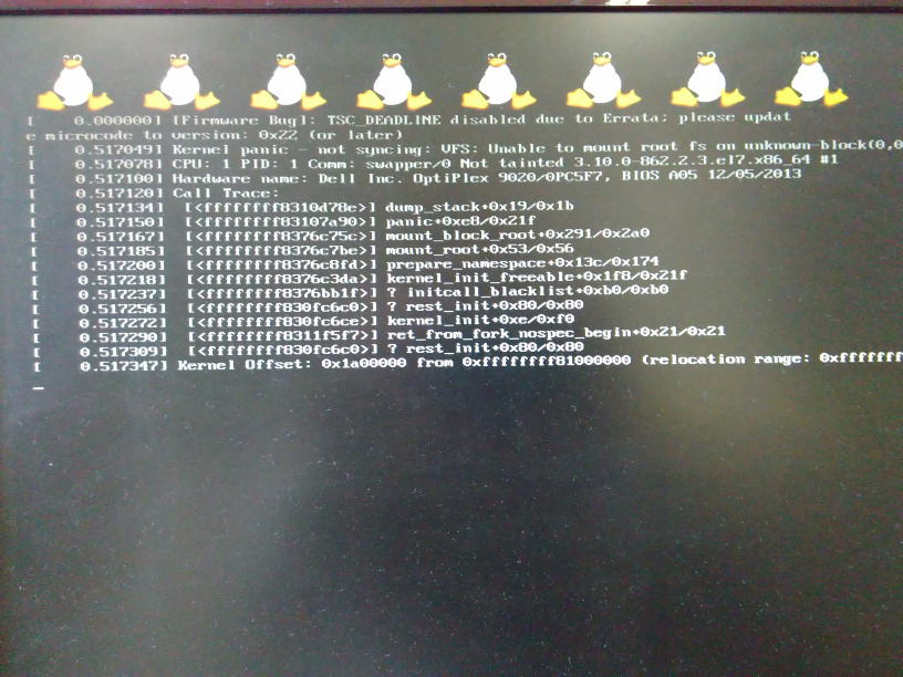 0014792: Kernel Panic booting with 3 10 0-862 2 3 el7 x86_64